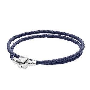 Dark Blue Braided Leather Charm Bracelet Small
